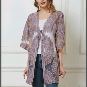 Tops - ⬇️ ▪︎(M&L) Lilac Floral Sheer Cover Top▪︎